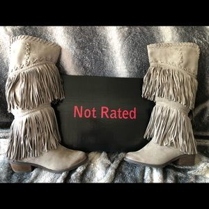 Suede Not Rated fringe boots.